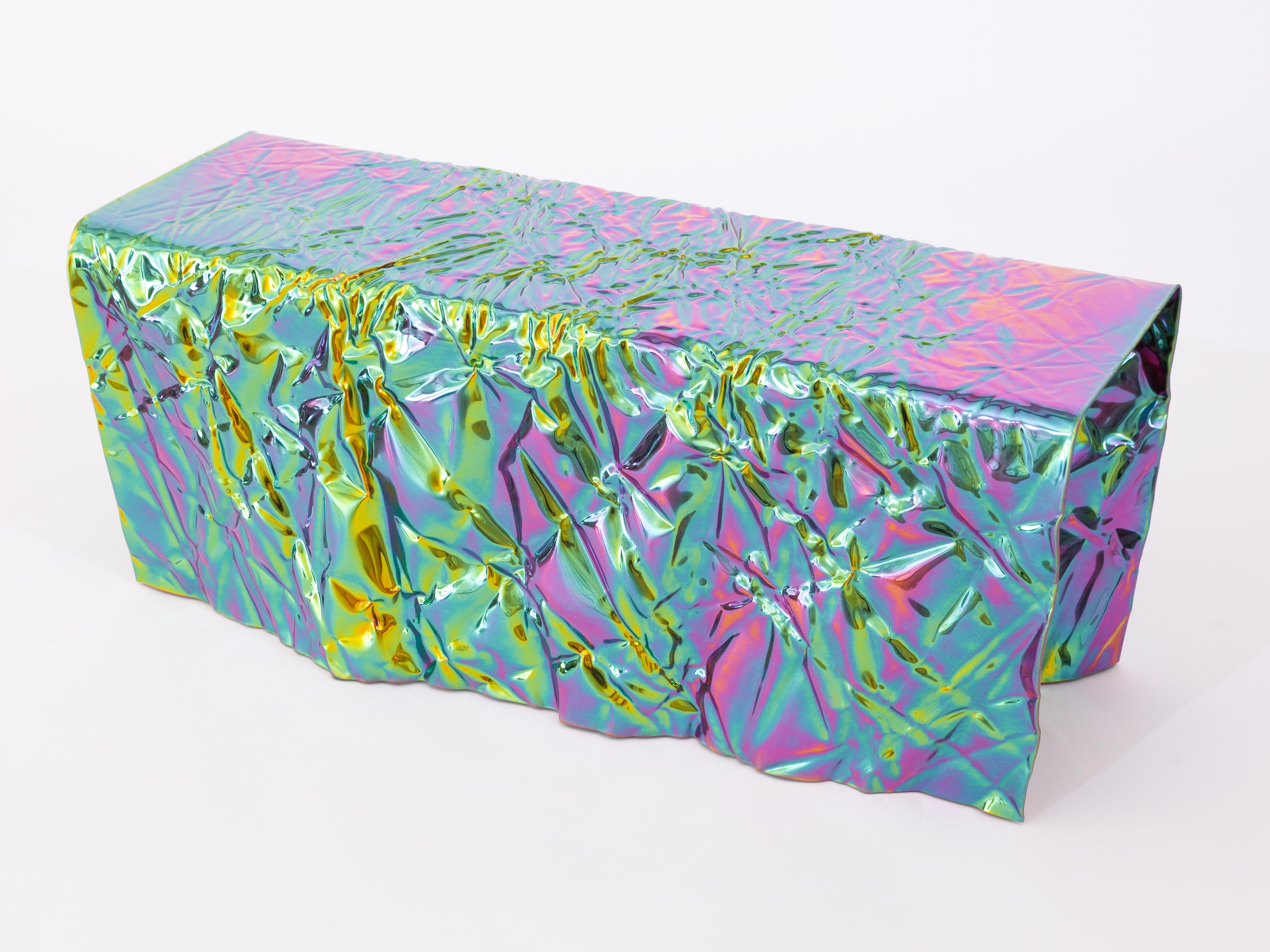rainbow iridescent bench